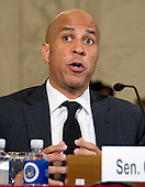 United States Senator Cory Booker (Democrat of New Jersey) testifies on a panel before the United States Senate Judiciary Committee on the nomination of US Senator Jeff Sessions (Republican of Alabama) to be Attorney General of the United States on Capitol Hill in Washington, DC on Wednesday, January 11, 2017.  Senator Booker became the first sitting senator in US history to testify against a fellow sitting senator at a cabinet confirmation hearing.<br /> Credit: Ron Sachs / CNP