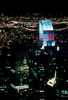 The Citigroup Center in New York, lit up for Independence Day, is seen on July 4, 1988.  (© Richard B. Levine)