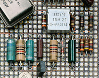 CAPACITORS &amp; RESISTORS ON A CIRCUIT BOARD<br /> Capacitance value, voltage rating and tolerance are indicated by a 5-band color code. Resistance value, ohms of resistance, is shown by a 3 or 4 band color code. The 4th band shows tolerance, which is +/-20% when there is no color.