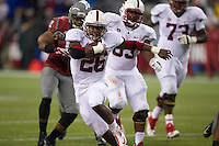 Stanford running back Barry Sanders rushes against Washington State at CenturyLink Field in Seattle Saturday September 28, 2013.