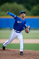 GCL Blue Jays relief pitcher Elixon Caballero (20) delivers a pitch during a game against the GCL Phillies West on August 7, 2018 at Bobby Mattick Complex in Dunedin, Florida.  GCL Blue Jays defeated GCL Phillies West 11-5.  (Mike Janes/Four Seam Images)