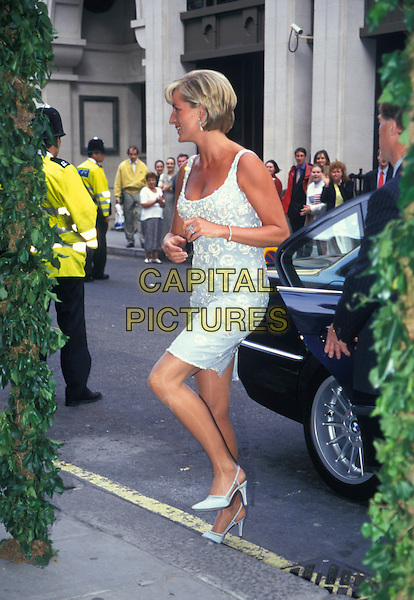DIANA, PRINCESS OF WALES.At A Private Viewing And Reception At Christies In Aid Of The Aids Crisis Trust And The Royal Marsden Hospital Cancer Fund, London, England, 2nd June 1997..full length pale blue white beaded dress shoes hands ring.HRH royal Lady Di stepping.CAP/JM.©James McCauley/Capital Picturesc
