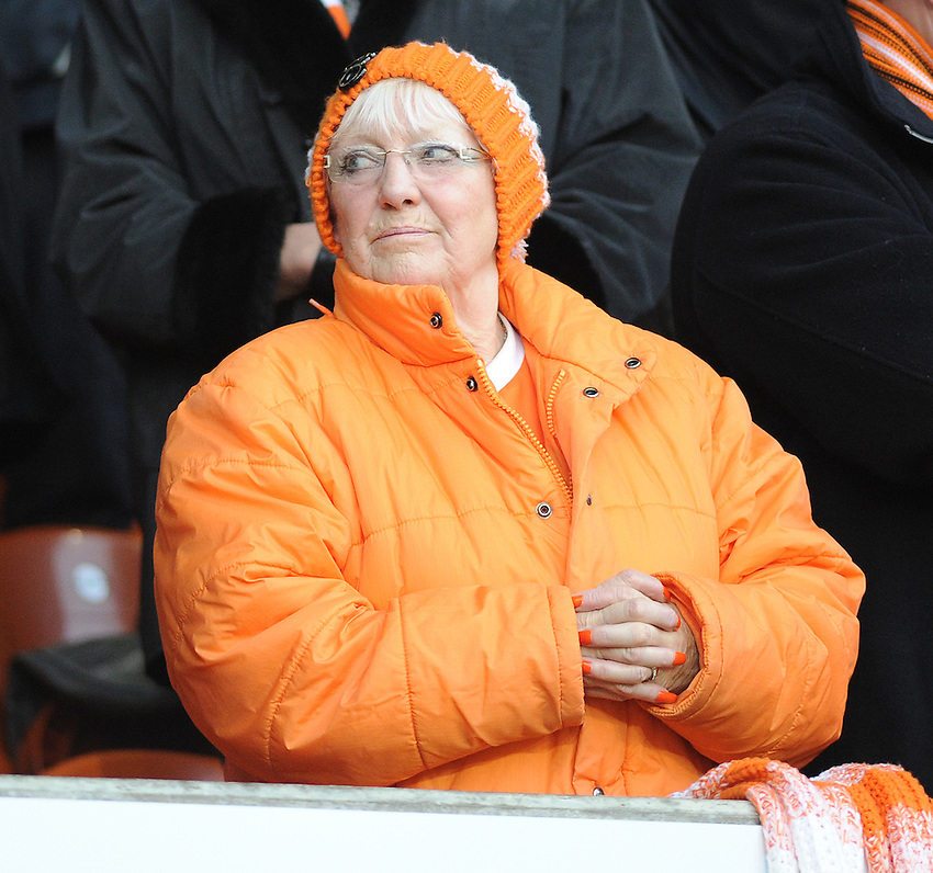 A Blackpool fan before kick-off<br /> <br /> Photographer Kevin Barnes/CameraSport<br /> <br /> Football - The Football League Sky Bet Championship - Blackpool v Birmingham City - Saturday 6th December 2014 - Bloomfield Road - Blackpool<br /> <br /> &copy; CameraSport - 43 Linden Ave. Countesthorpe. Leicester. England. LE8 5PG - Tel: +44 (0) 116 277 4147 - admin@camerasport.com - www.camerasport.com