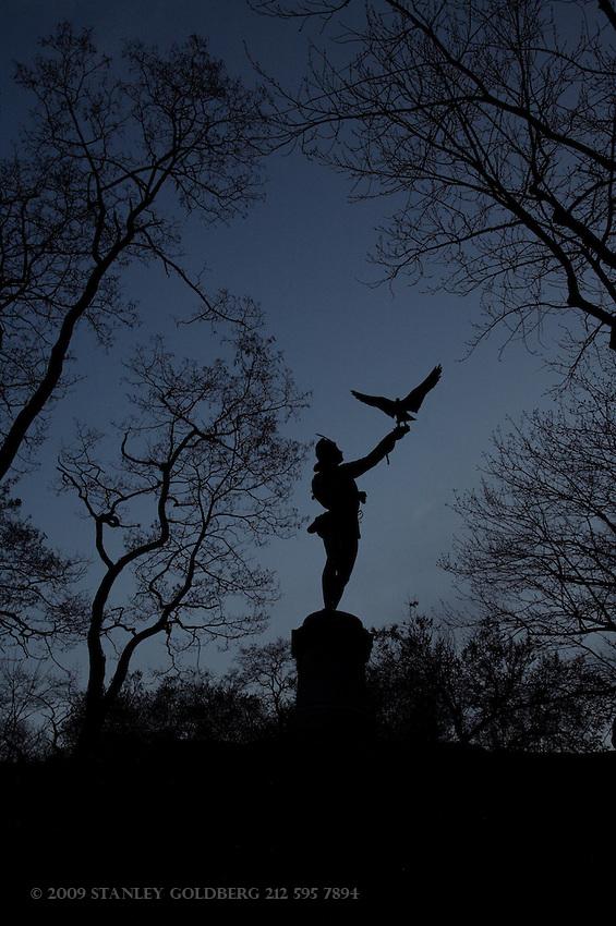 Falkoneer Statue, Dusk, Central Park, NYC