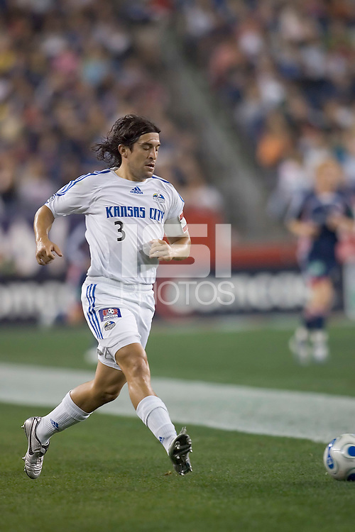 Nick Garcia passes to a teammate. NE Revolution tied KC Wizards, 1-1, at Gillette Stadium.