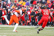 College Park, MD - October 27, 2018: Illinois Fighting Illini wide receiver Trenard Davis (15) catches a pass during the game between Illinois and Maryland at  Capital One Field at Maryland Stadium in College Park, MD.  (Photo by Elliott Brown/Media Images International)