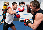 22/04/2011 Allan Meek, MD of SCS Group in Caerphilly, Wales, trains at the Penarth Amateur Boxing Club with his trainer and Penarth ABC club manager Neil Munn (in black vest).