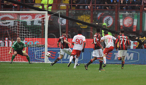 13.03.2011 AC Milan were held to a shock draw at home to basement boys Bari at the San Siro. Picture shows Gegerly Rudolf opening the scoring for Bari.