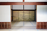 Kyoto, June 27 2013 - Decoration on the sliding doors of the middle Villa (Kyakuden) at Shugakuin Imperial villa