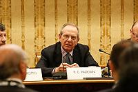 Pier Carlo Padoan, ministro delle Finanze durante la conferenza stampa  a margine di Italy is Now and Next