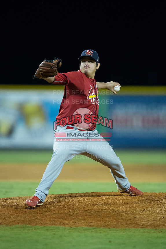 Johnson City Cardinals relief pitcher Ismael Brito (21) in action against the Burlington Royals at Burlington Athletic Park on August 22, 2015 in Burlington, North Carolina.  The Cardinals defeated the Royals 9-3. (Brian Westerholt/Four Seam Images)