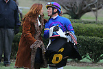 January 18, 2016: Jockey Jon Court being congratulated by his wife Krystal Fires Court in the winners circle after winning the Smarty Jones Stakes at Oaklawn Park in Hot Springs, AR. Justin Manning/ESW/CSM