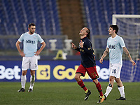 Calcio, Serie A: Lazio - Genoa, Roma, Stadio Olimpico, 5 Febbraio 2018. <br /> Genoa's Diego Laxalt (c) celebrates after scoring with his teammates during the Italian Serie A football match between Lazio and Genoa at Rome's Stadio Olimpico, February 5, 2018.<br /> UPDATE IMAGES PRESS/Isabella Bonotto