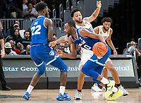 WASHINGTON, DC - FEBRUARY 05: Quincy McKnight #0 of Seton Hall moves past Jahvon Blair #0 of Georgetown during a game between Seton Hall and Georgetown at Capital One Arena on February 05, 2020 in Washington, DC.