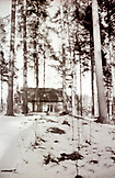 SWEDEN, Swedish Lapland, Black and White Dreamy House In The Winter Nature