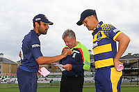 Essex skipper Ravi Bopara (L) and Glamorgan skipper Jacques Rudolph ahead of the toss during Essex Eagles vs Glamorgan, NatWest T20 Blast Cricket at the Essex County Ground on 29th July 2016