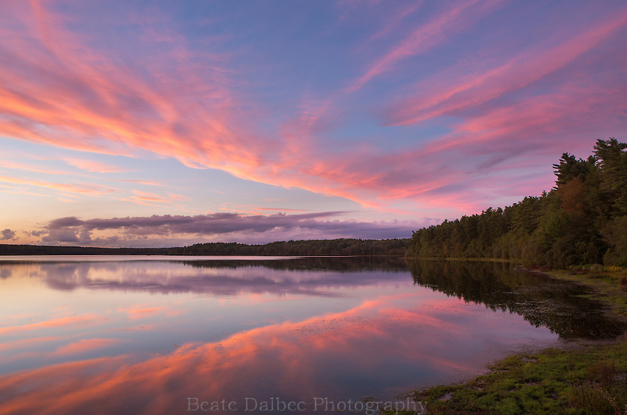 sunset reflection at Quitticas pond, Rochester, MA