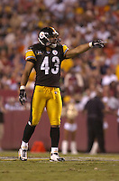 18 August 2007:   Troy Polamalu (43)..The Pittsburgh Steelers defeated the Washington Redskins 12-10 in their preseason game at FedEx Field in Landover, MD.