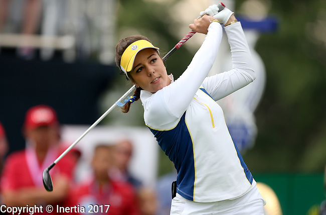 DES MOINES, IA - AUGUST 18: Europe's Georgia Hall watches her tee shot on the first hole Friday morning at the 2017 Solheim Cup in Des Moines, IA. (Photo by Dave Eggen/Inertia)