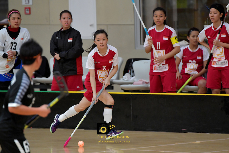 Singapore's Xuan Yeo in action during the World Floorball Championships 2017 Qualification for Asia Oceania Region - Singapore v Thailand at ASB Sports Centre , Wellington, New Zealand on Sunday 5 February 2017.<br /> Photo by Masanori Udagawa<br /> www.photowellington.photoshelter.com.