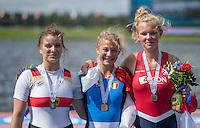 Rotterdam. Netherlands.  Centre ITA JW1X. gold medalist, Clara GUERRA, left GER JW1X Silver and right NED JW1X Bronze {WRCH2016}  at the Willem-Alexander Baan.   Sunday  28/08/2016 <br /> <br /> [Mandatory Credit; Peter SPURRIER/Intersport Images]