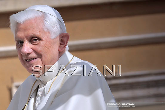 Pope Benedict XVI waves as he leaves his weekly general audience on  march 31, 2010 at St Peter's square at The Vatican.