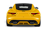 Straight rear view of 2020 Jaguar F-Type R 2 Door Coupe Rear View  stock images