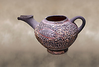 "Minoan Kamares Ware beak spouted ""teapot"" with extended spout and  leaf polychrome decorations, Kamares Sacred Cave 1900-1700 BC; Heraklion Archaeological  Museum.<br /> <br /> This style of pottery is named afetr Kamares cave where this style of pottery was first found"