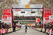 25th March 2018, Barcelona, Spain; Volta a Catalunya 2018 Cycling, Stage 7;  YATES, Simon (GBR) of MITCHELTON SCOTT celebrating his victory as he crosses the finish line in Barcelona to win the final stage