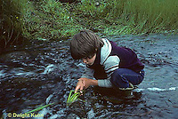 FS08-004c  Boy at stream looking for black fly larvae.Maine.