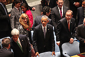 Members of the United States delegation including U.S. President Barack Obama, U.S. Secretary of State John F. Kerry, U.S. Ambassador to the United Nations Samantha Power and National Security Advisor Susan Rice attend the United Nations Security Council meeting cracking down on foreign terrorist fighters at the United Nations 69th General Assembly in New York, New York on Wednesday, September 24, 2014.  The resolution passed 15 - 0.<br /> Credit: Allan Tannenbaum / Pool via CNP