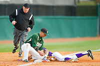 Willie Medina (3) of the High Point Panthers is tagged out by Justin Roland (16) of the Charlotte 49ers as he tries to steal third base at Willard Stadium on February 20, 2013 in High Point, North Carolina.  The 49ers defeated the Panthers 12-3.  (Brian Westerholt/Four Seam Images)