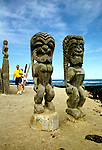 HI:  Hawaii; Big Island, Place of Refuge National Park;  Pu'uhonua o Honaunau National Historical Park; ki'i wooden images.Photos by Lee Foster, lee@fostertravel.com, www.fostertravel.com, (510) 549-2202.Image: hicity402