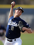 UC Davis' Spencer Koopmans pitches against the Washington Huskies in a college baseball game in Davis, Ca., on Saturday, Feb. 16, 2013. Davis won the opener 6-5 and dropped the second game 3-2..Photo by Cathleen Allison