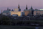 Ottawa Skyline at dusk with Parliament Buildings in background, Ontario, Canada