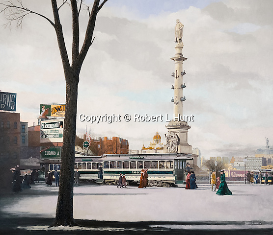 "Victorian era trolley and pedestrains at Columbus Circle, street car public transportation in New York City at the turn of the century, circa 1908. Oil on canvas, 32"" x 37""."