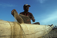 Fisherman tend their nets in Negombo, Sri Lanka in 1996.
