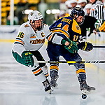 26 January 2019:  University of Vermont Catamount Forward Derek Lodermeier, a Junior from Brooklyn Center, MN, in second period action against the Merrimack College Warriors at Gutterson Fieldhouse in Burlington, Vermont. The Catamounts defeated the Warriors 4-3 in overtime to take both games of their weekend America East conference series. Mandatory Credit: Ed Wolfstein Photo *** RAW (NEF) Image File Available ***