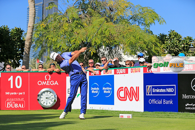 Graeme McDOWELL (NIR) tees off the 10th tee during Saturday's Round 3 of the 2015 Omega Dubai Desert Classic held at the Emirates Golf Club, Dubai, UAE.: Picture Eoin Clarke, www.golffile.ie: 1/31/2015