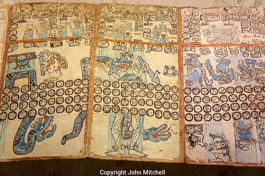 Copy of an ancient Mayan codex, Gran Museo del Mundo Maya museum in Merida, Yucatan, Mexico      .