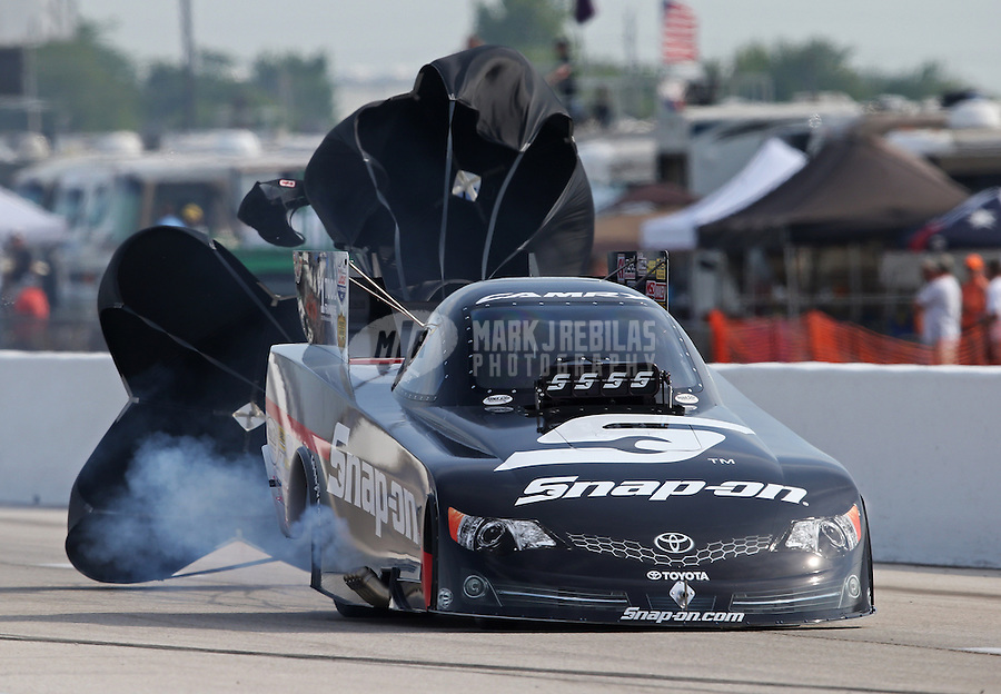 Apr. 26, 2013; Baytown, TX, USA: NHRA funny car driver Cruz Pedregon during qualifying for the Spring Nationals at Royal Purple Raceway. Mandatory Credit: Mark J. Rebilas-