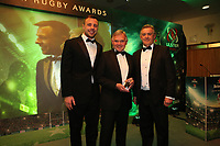 Thursday 10th May 2018 | Ulster Rugby Awards 2018<br /> <br /> Tommy Bowe Perennials Patron and Colin McKee, President of Perennials RFC presents the Dorrington B Faulkner Award for services to rugby, sponsored by Perennials RFC to Mark Orr, during the 2018 Heineken Ulster Rugby Awards at La Mom Hotel, Belfast. Photo by John Dickson / DICKSONDIGITAL