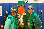 WATERTOWN, CT.- 14 MARCH 2015 - 031415JW03 - Christine Miller, Bill Dexter, and Christine Faressa pose for a photo before the start of the 4th Annual Shamrock Shuffle at Polk School Saturday morning.<br /> Jonathan Wilcox Republican-American