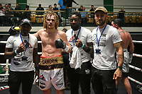 Robbie Chapman (white shorts) defeats Kearan Thomas during a Boxing Show at York Hall on 7th September 2019