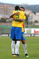 Matheus Henrique hugs No 2, Emerson after scoring Brazil's second goal during France Under-18 vs Brazil Under-20, Tournoi Maurice Revello Football at Stade d'Honneur Marcel Roustan on 5th June 2019
