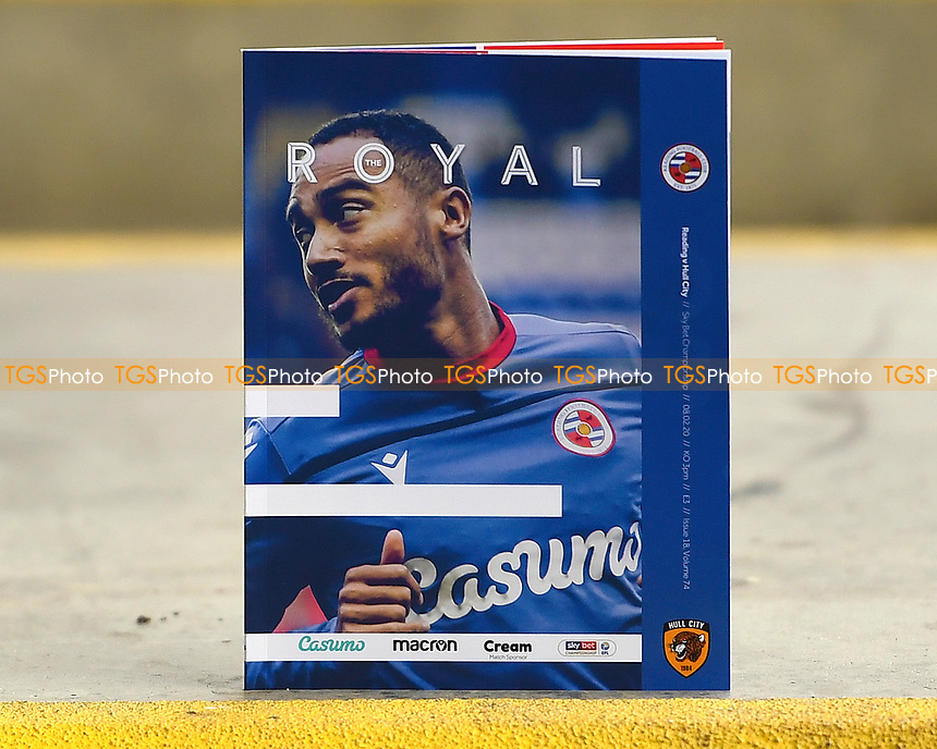 Jordan Obita of Reading on the front of the match day programme during Reading vs Hull City, Sky Bet EFL Championship Football at the Madejski Stadium on 8th February 2020