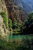 Wadi Shab, Oman.  Pool of Water at the Foot of Cliffs.