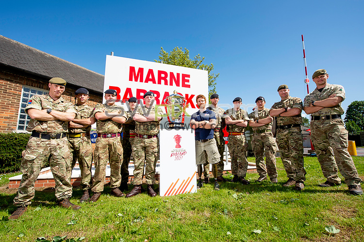 Picture by Allan McKenzie/SWpix.com - 14/06/2018 - Commercial - Rugby League - Rugby League World Cup 2021 Ambassador Unveil, Marne Barracks, Catterick, England - James Simpson with the Rugby League World Cup and some of his colleagues from the barracks.