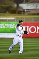 Taylor Lindsey (8) of the Salt Lake Bees prior to the game against the Sacramento River Cats at Smith's Ballpark on April 3, 2014 in Salt Lake City, Utah.  (Stephen Smith/Four Seam Images)