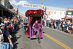 The Flapper Crapper, driven by Penny Morris, is pushed across the finish line.  Photo by Tom Smedes.